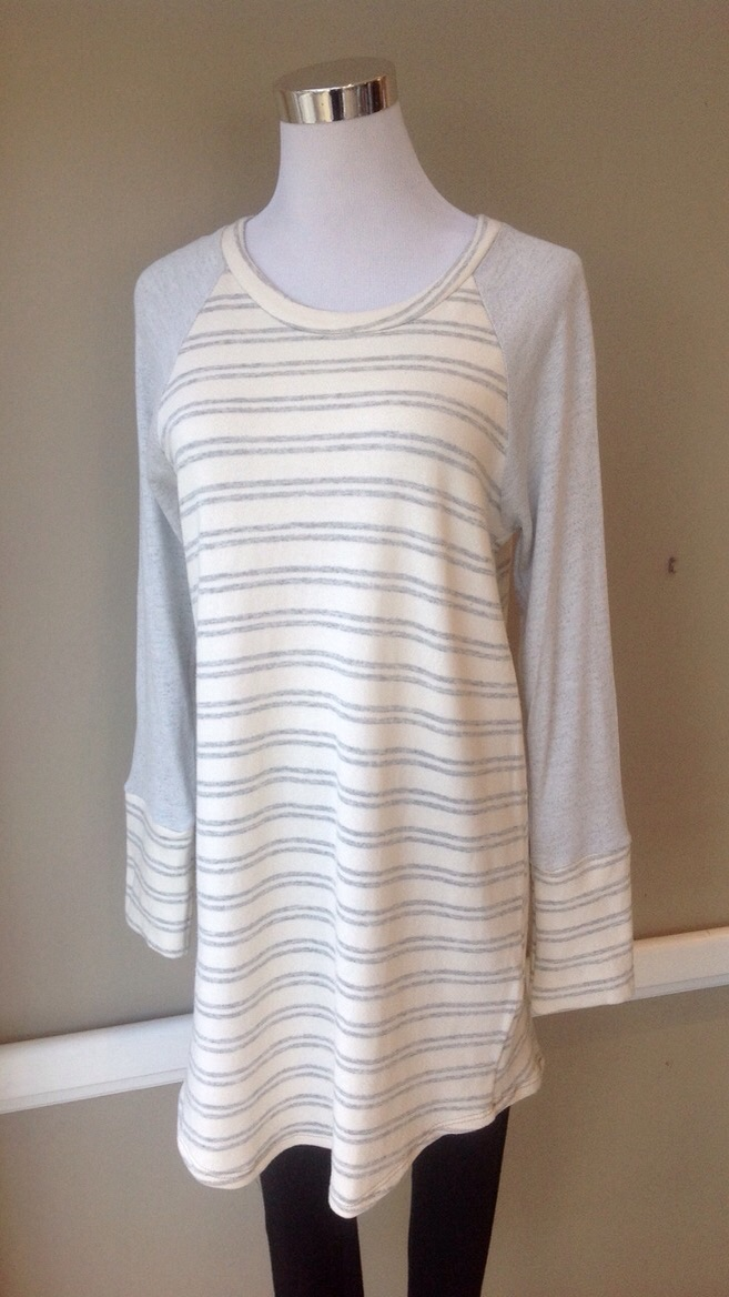 French terry knit tunic in Light Grey/Ivory, $34