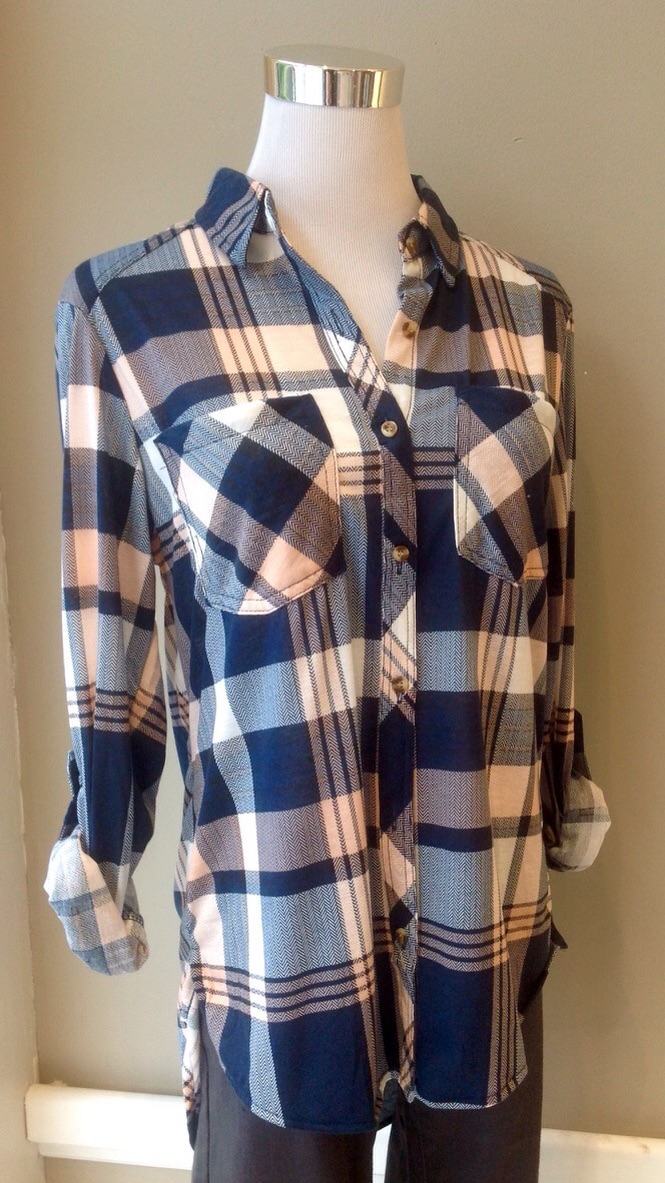 Pink and Navy plaid shirt with high-low hem, $34