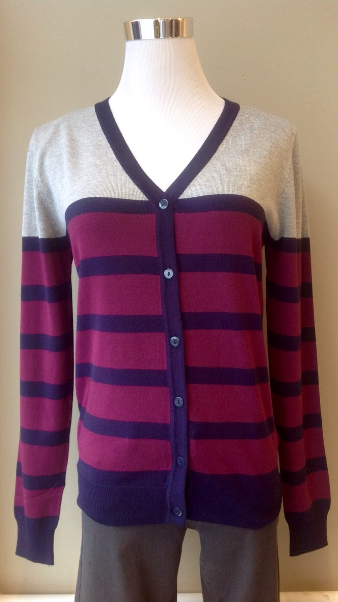 Stripe v-neck cardigan sweater in Navy/Wine/Lt. Grey, $35