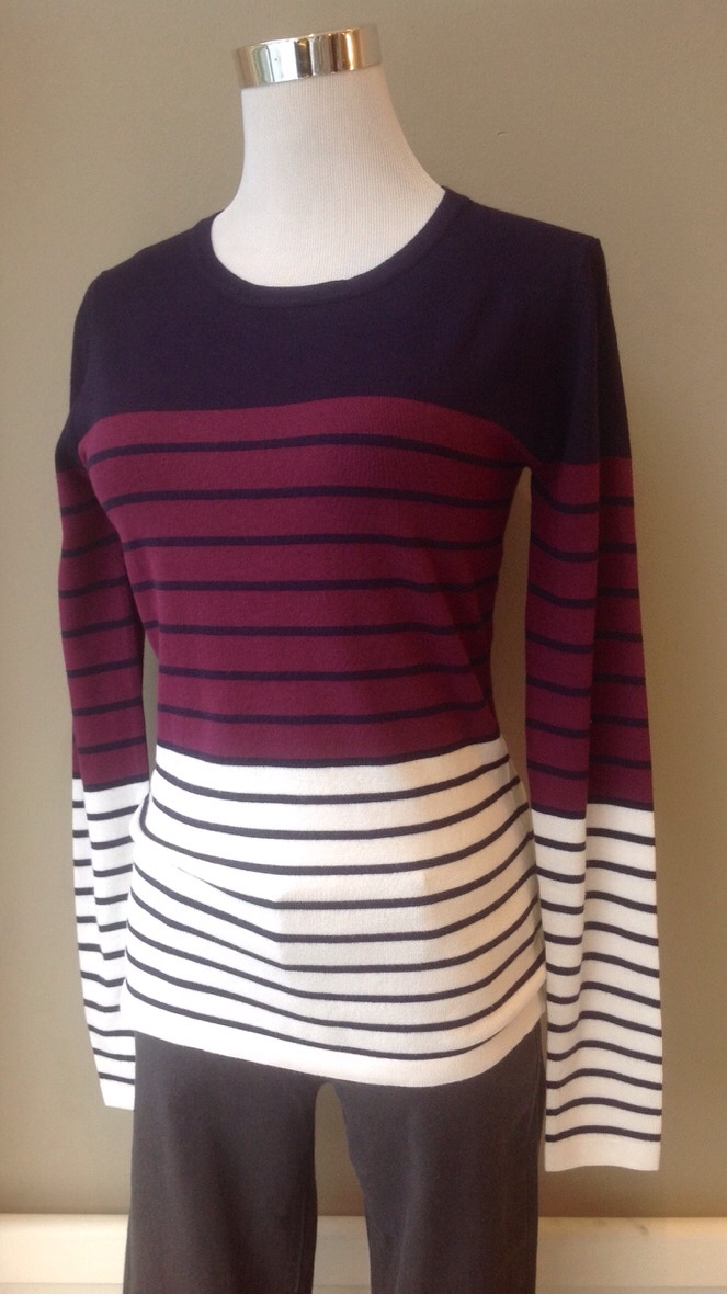 Colorblocked lightweight sweater in Navy/Wine/White with navy and black stripes, $34