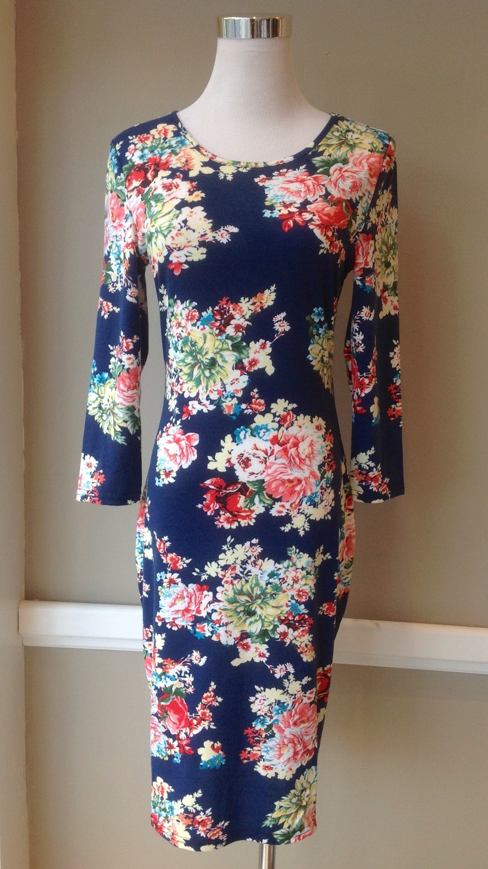 Fitted floral print midi dress in Navy/Multi, $35