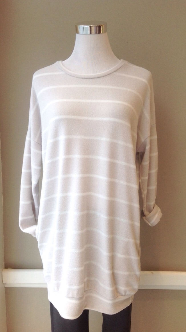 Ultra soft, lightweight tunic sweater with side pockets in Beige/Ivory, $34