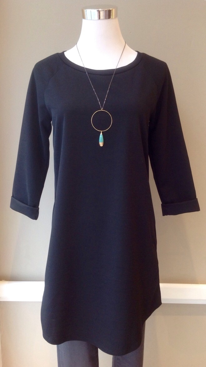 Black stretch woven, A-line dress with 3/4 sleeves, $35