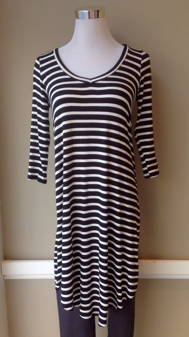 Lightweight Black and White stripe tunic dress with rounded hem, $32