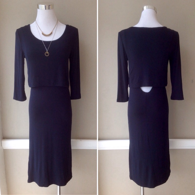 Lightweight layered midi dress in Black, $30