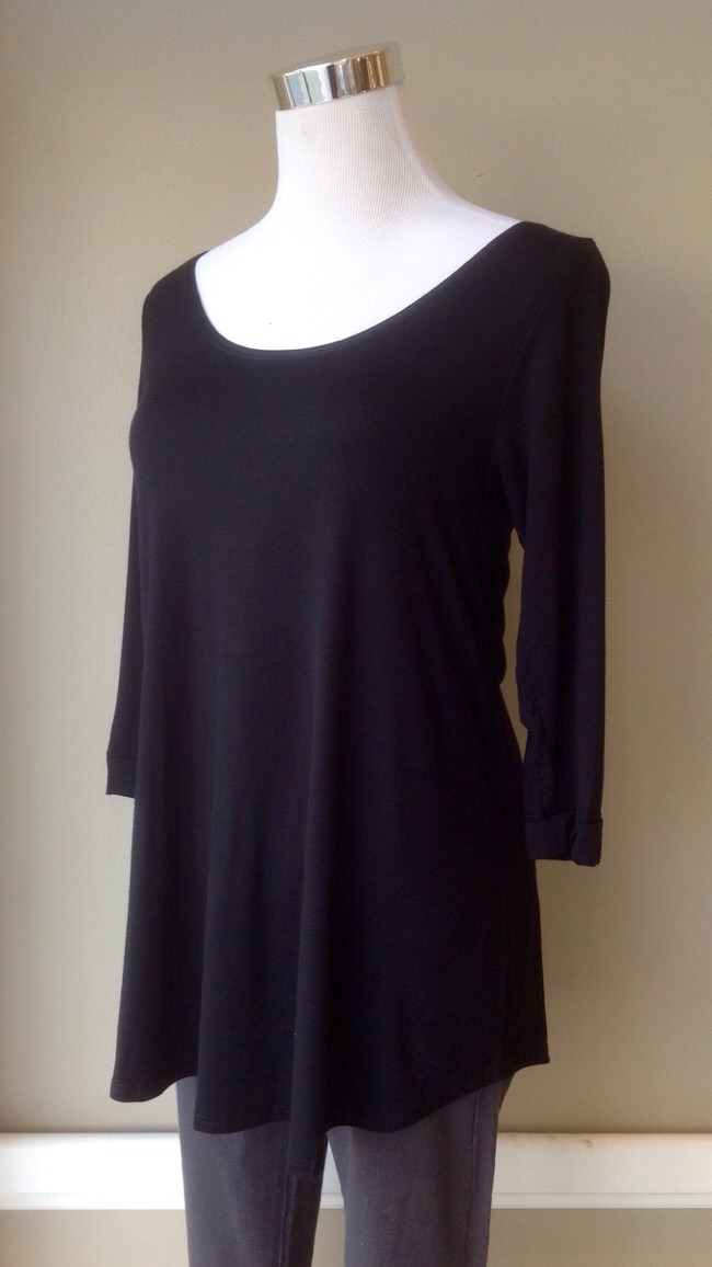 Basic scoop neck swing top with 3/4 sleeves in Black, $25
