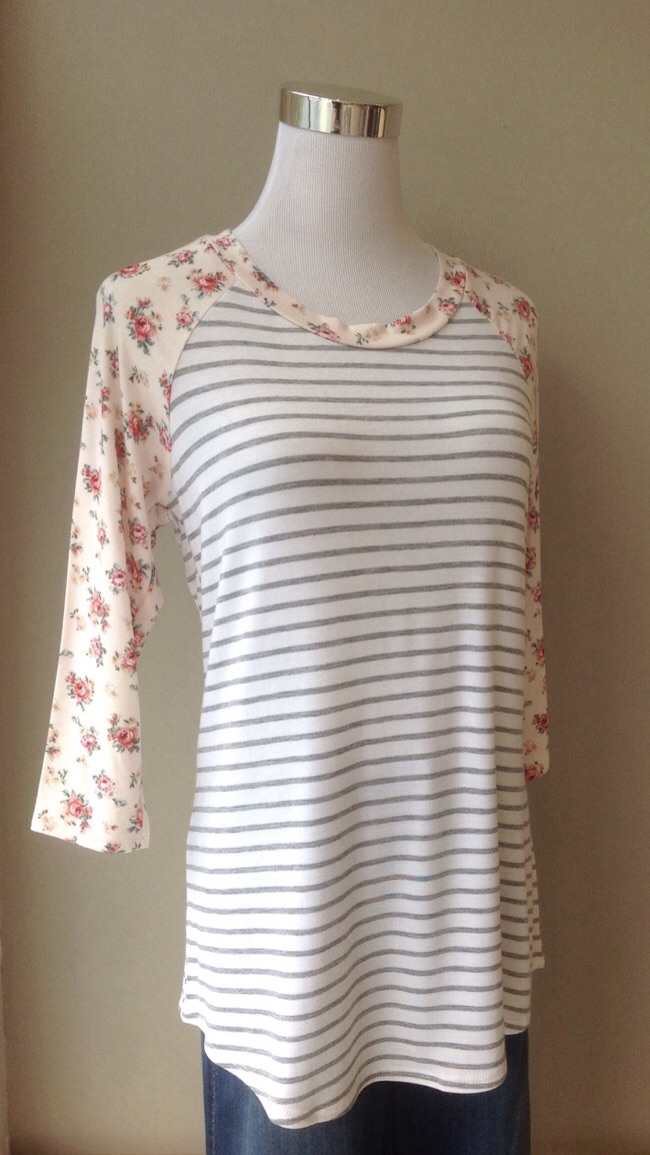 Grey and white stripe baseball top with pink floral sleeves, $28