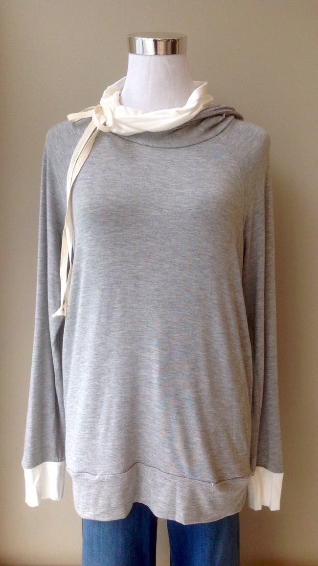 Lightweight grey hoodie with ivory cowl neck and tie, $35