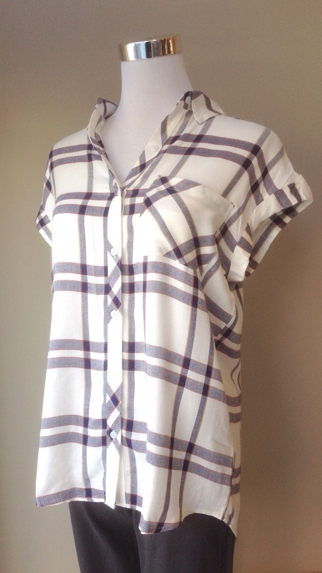 Drop sleeve plaid shirt in white/navy, $32