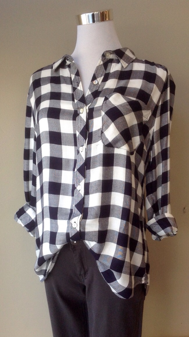 Gingham plaid button-down blouse in navy/white, $34