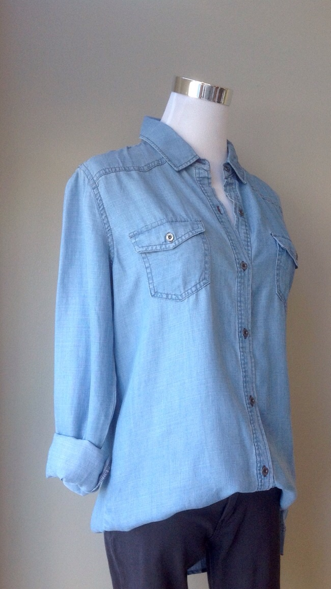 Tencel chambray button-down blouse, $34