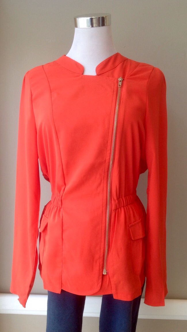 Bright vermillion moto style blazer with cinched elastic waist, $40