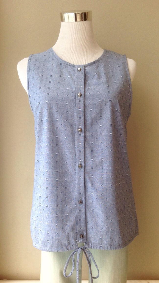 Lightweight cotton tank/vest with hem tie, $35