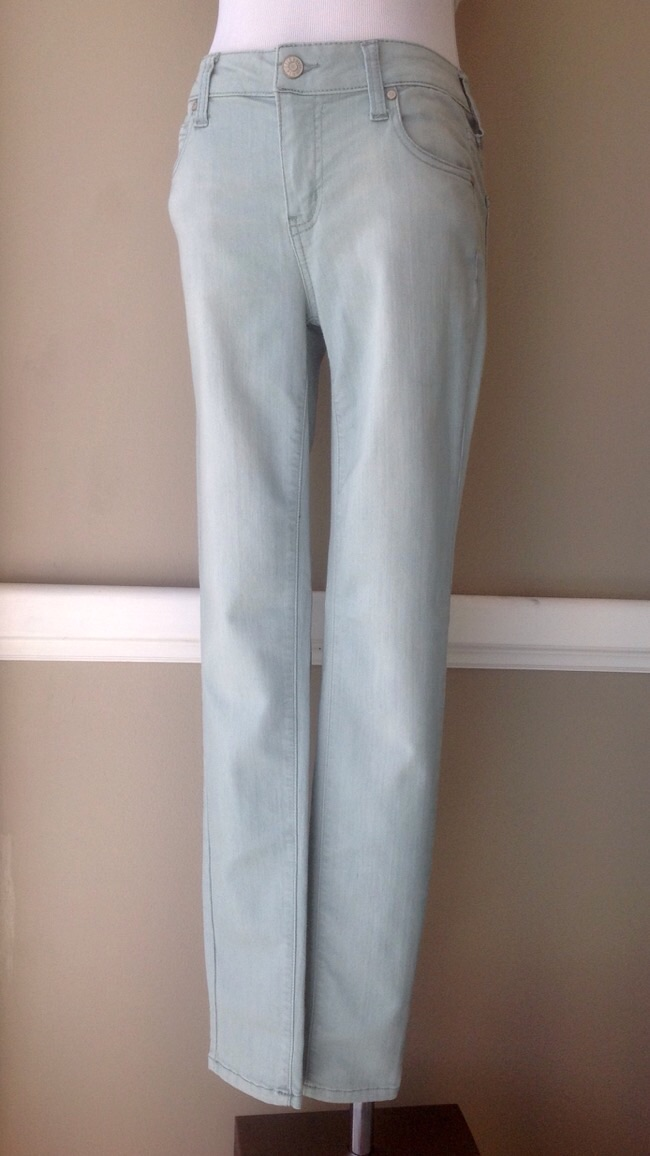 Stretch denim, mid-rise skinny jeans in sage, $48