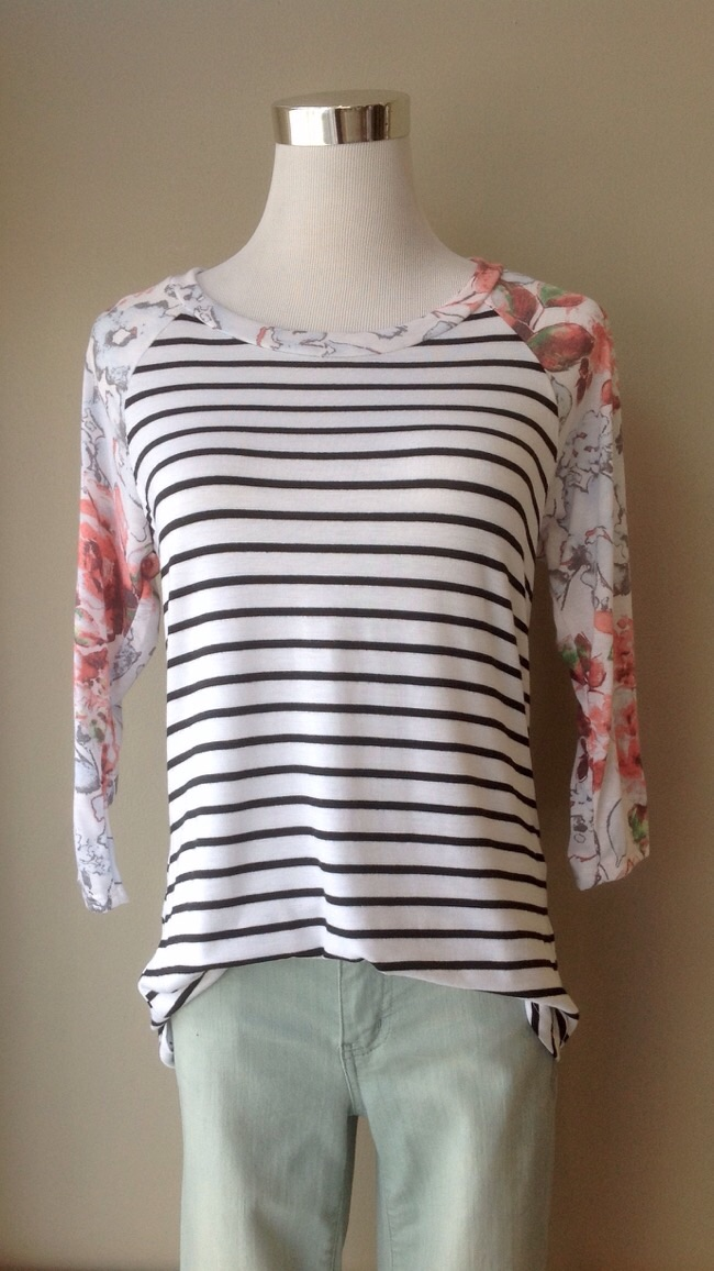Floral sleeve stripe baseball top in white/black/multi, $28