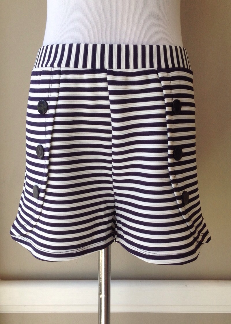 Stripe knit tulip short in navy/white, $34