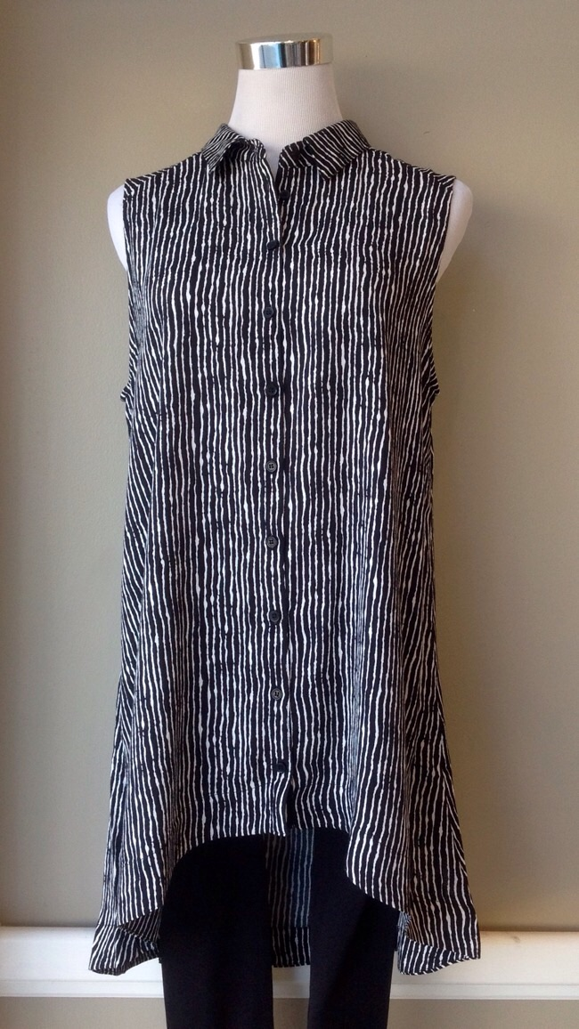 Sleeveless tunic blouse with high-low hem in black/white, $38