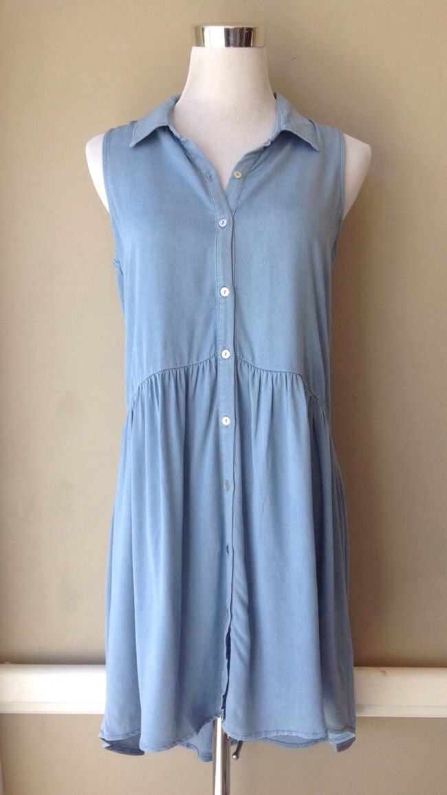 Sleeveless chambray shirt dress with gathered waist, $35
