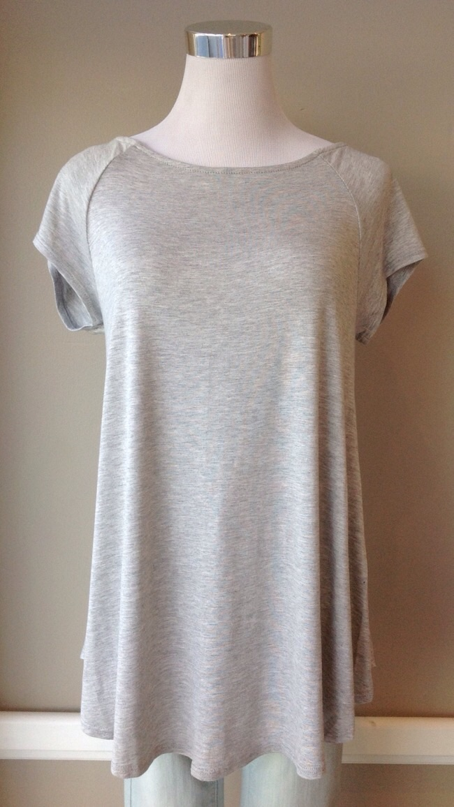 Heather grey short sleeve top, $26