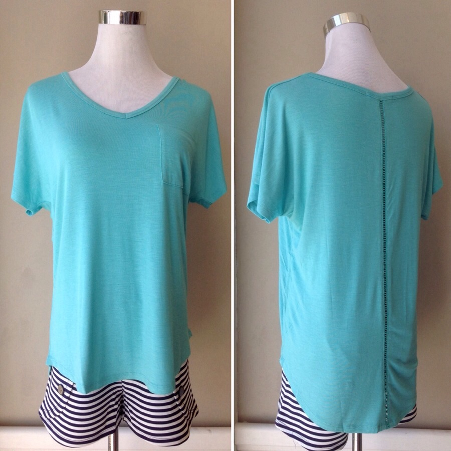 Dolman sleeve tee with center back trim in deep mint, $26