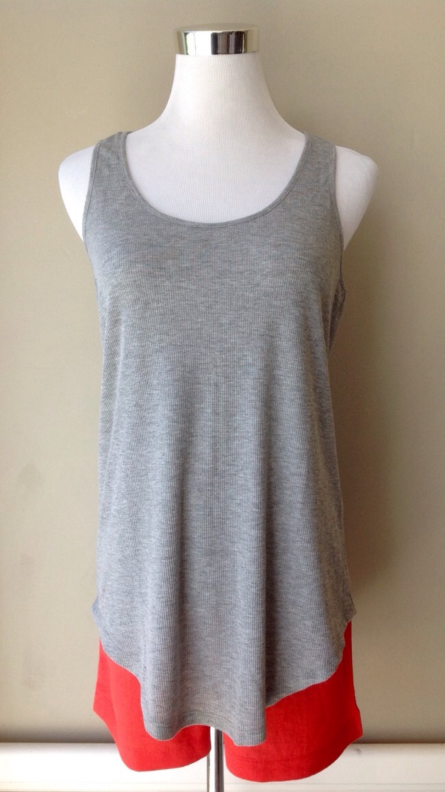 Rib knit racer-back tank with rounded high-low hem, $21