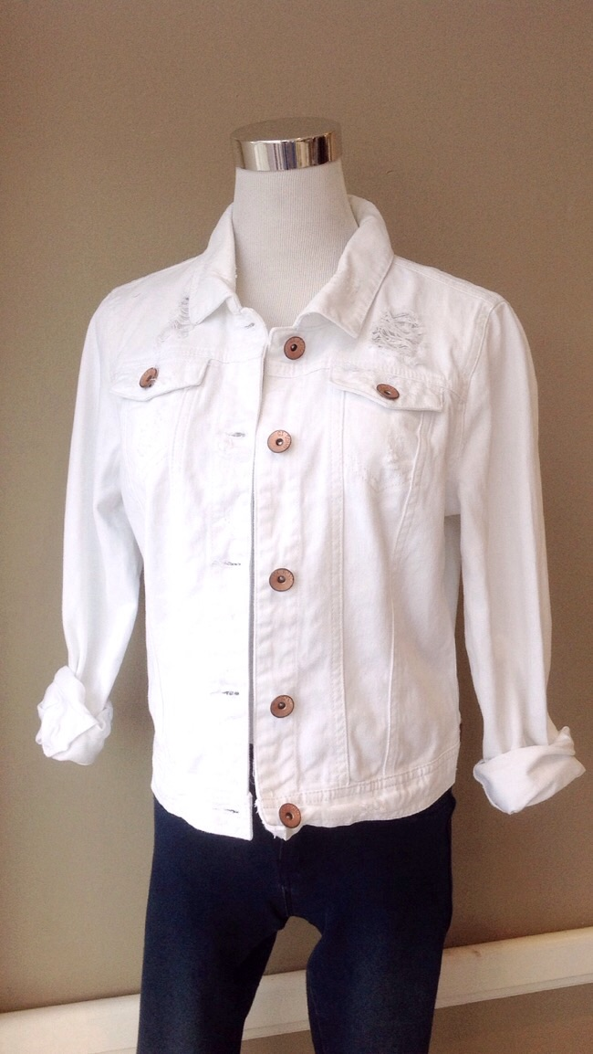 White distressed denim jacket, $38