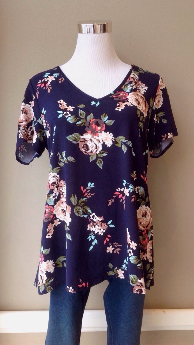 Floral v-neck tee in navy/multi, $32