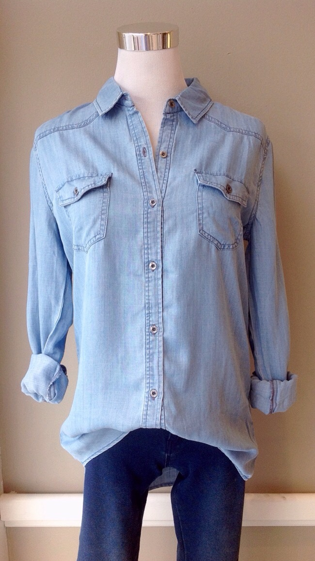 Tencel chambray button-down blouse, $38