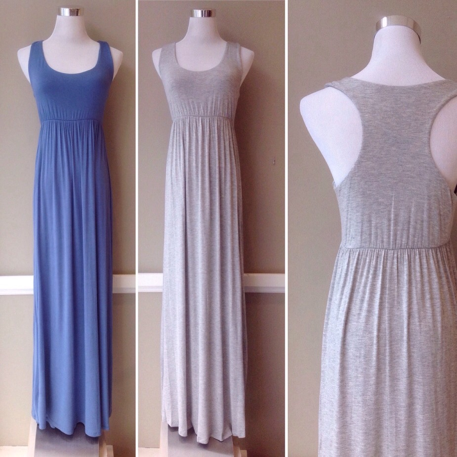 Empire waist jersey knit maxi dress. Available in periwinkle and heather grey.