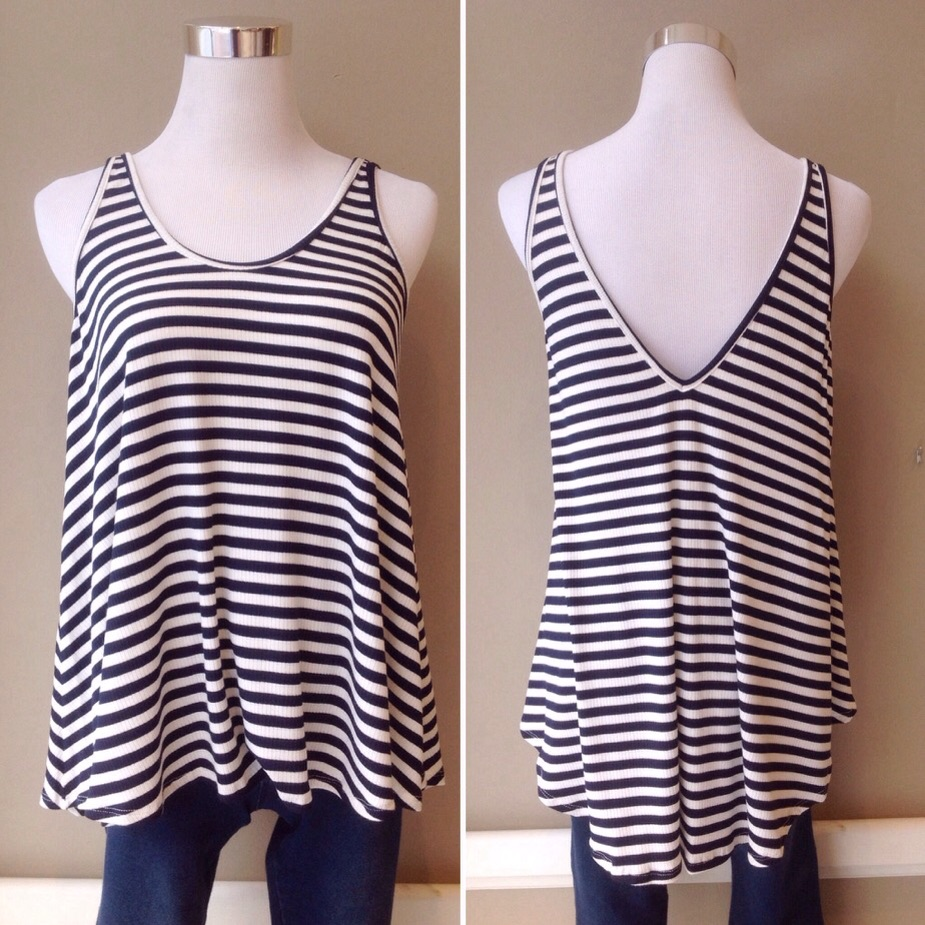Navy and white stripe swing tank, $26