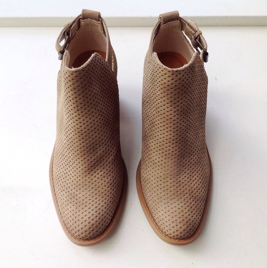 Perforated faux suede booties, $45
