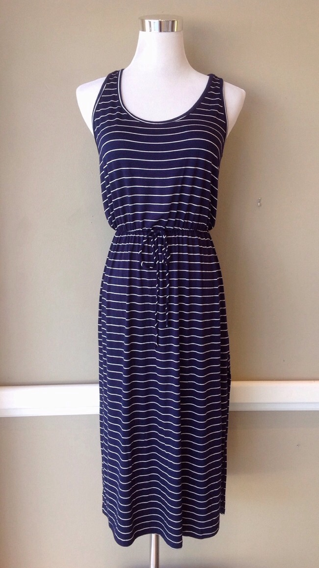 Navy and white stripe midi dress with racer back and side slits, $38