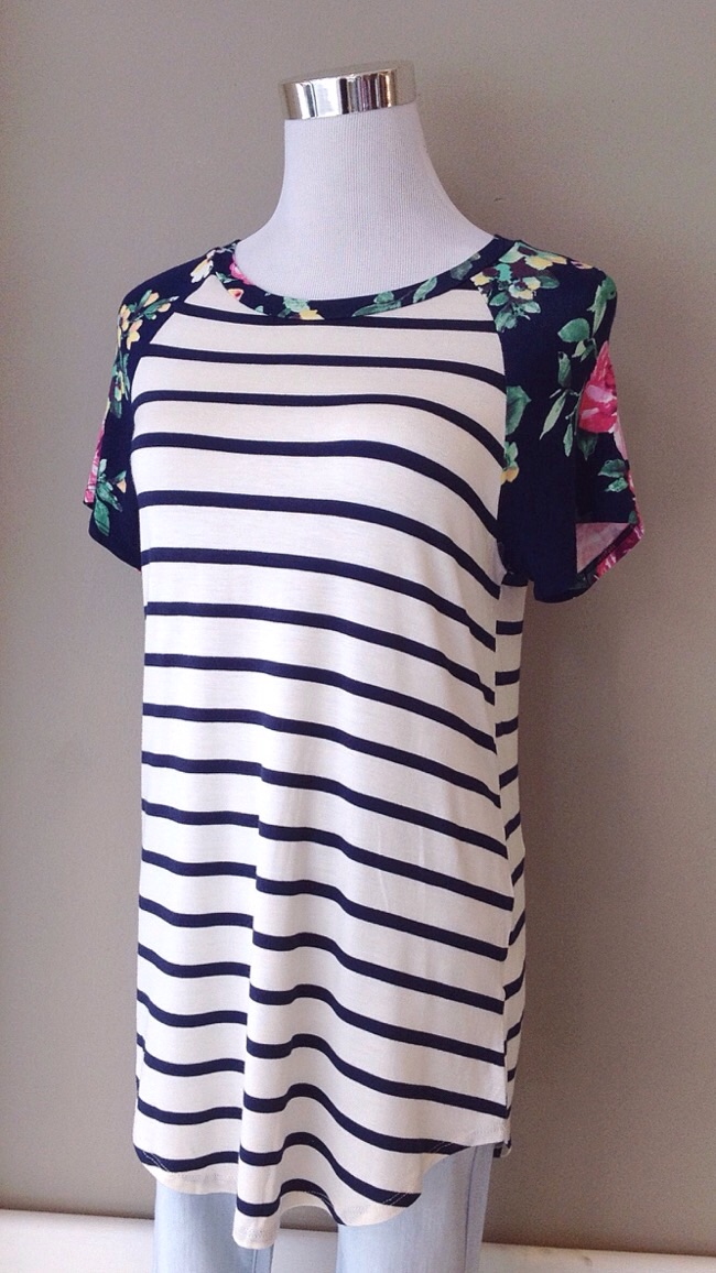 Contrasting stripe and floral knit tee, $32