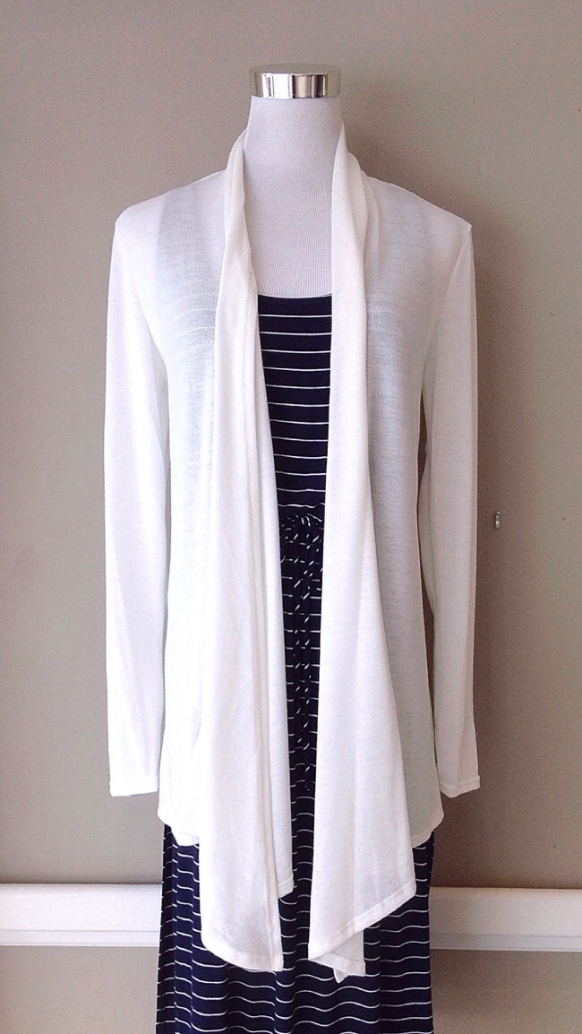 Open knit cardigan in ivory, $28