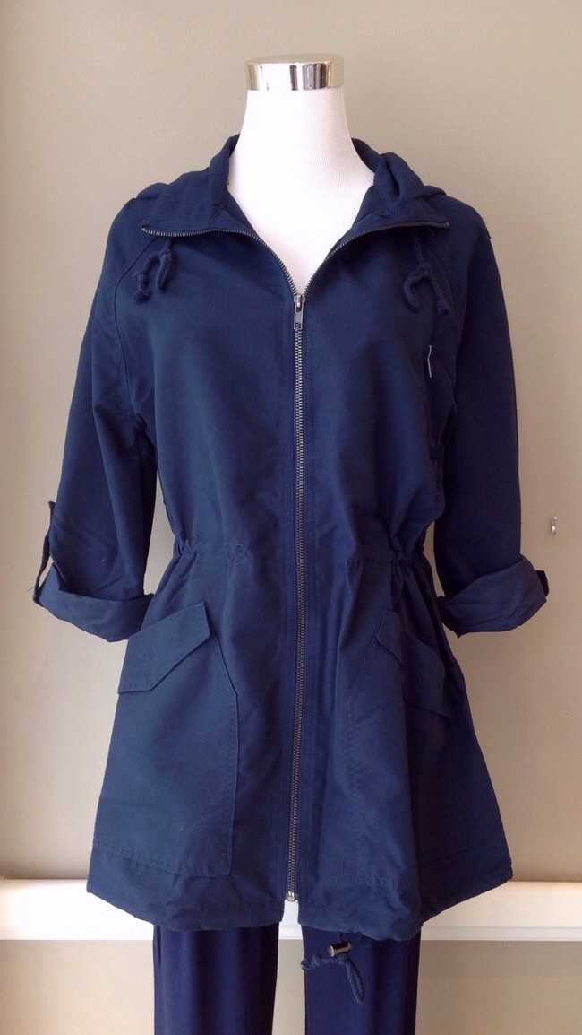 Ultra lightweight field jacket with hood and drawstring waist, $42