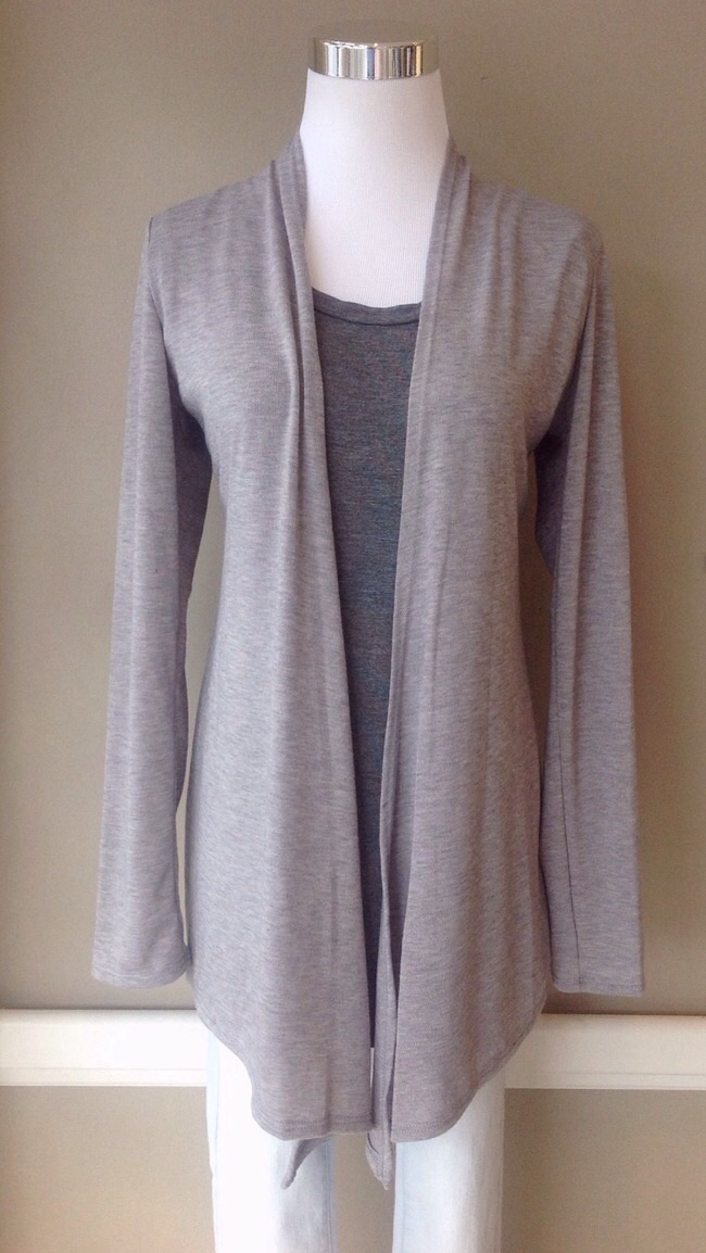 Lightweight knit cardigan in heather grey, $28. Also avaiabel in charcoal.