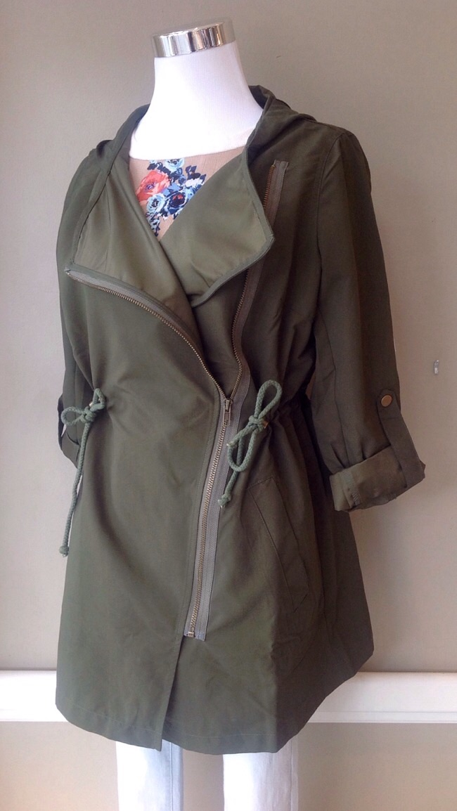 Olive field jacket with asymmetrical zipper and drawstring waist, $42