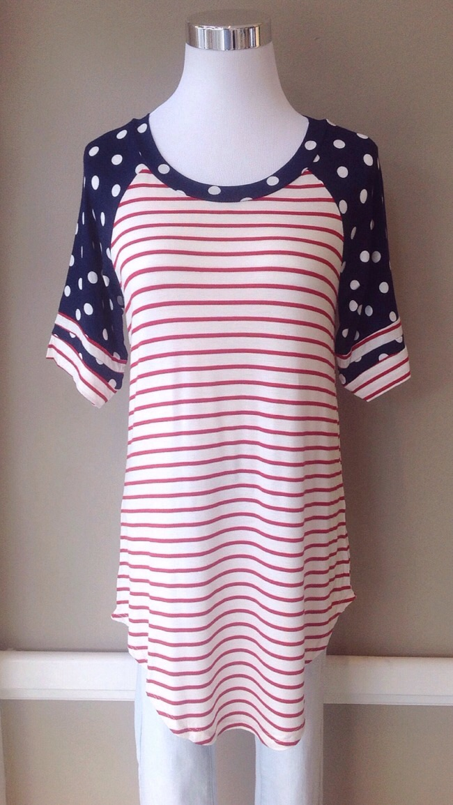 Stripe and dot knit baseball top with rounded hem in navy/red/ivory, $30