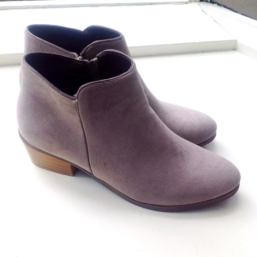 Faux suede booties with rubber soles in soft grey, $45