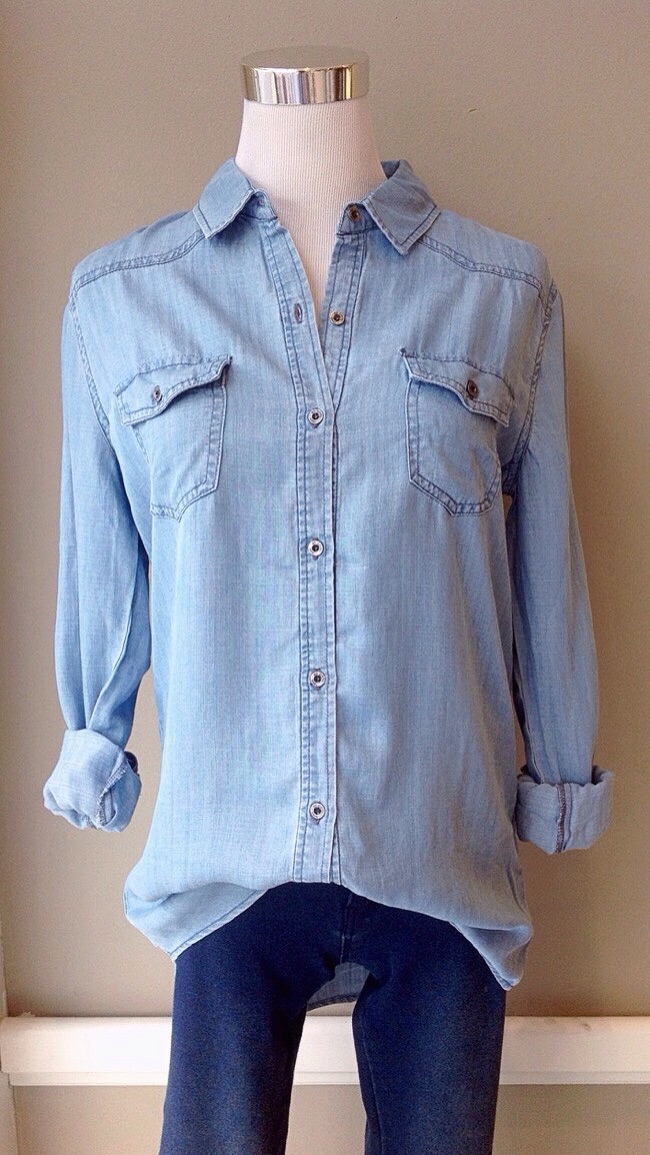 Tencel chambray button-down blouse, $38. Also available in light wash.