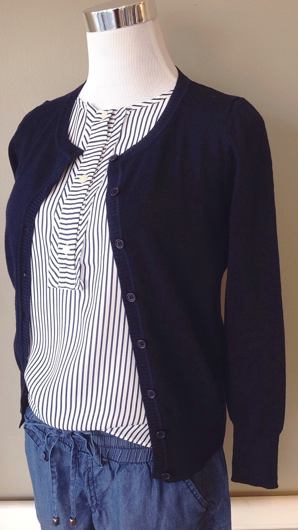 Navy button-down cardigan, $28