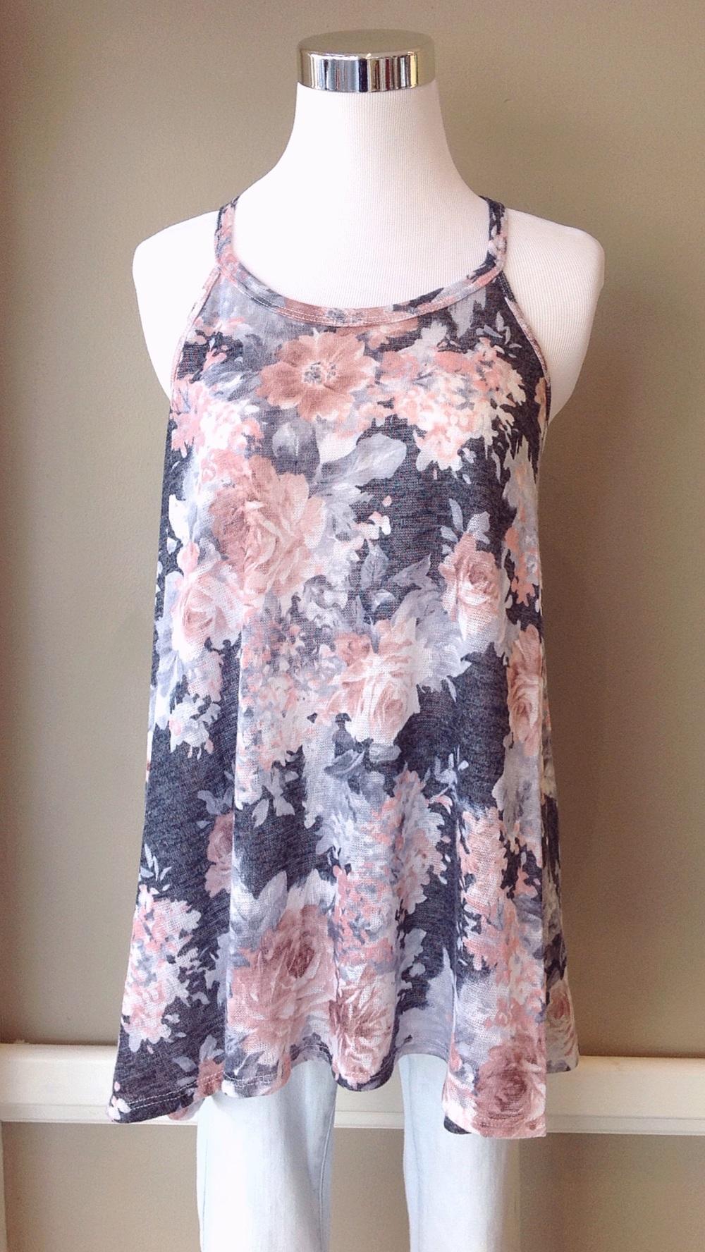 Knit floral swing tank, $28