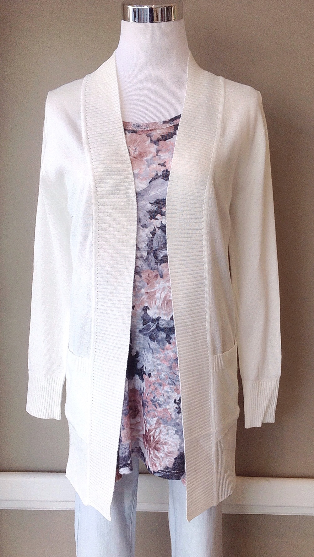 Long open front cardigan with patch pockets in white, $32