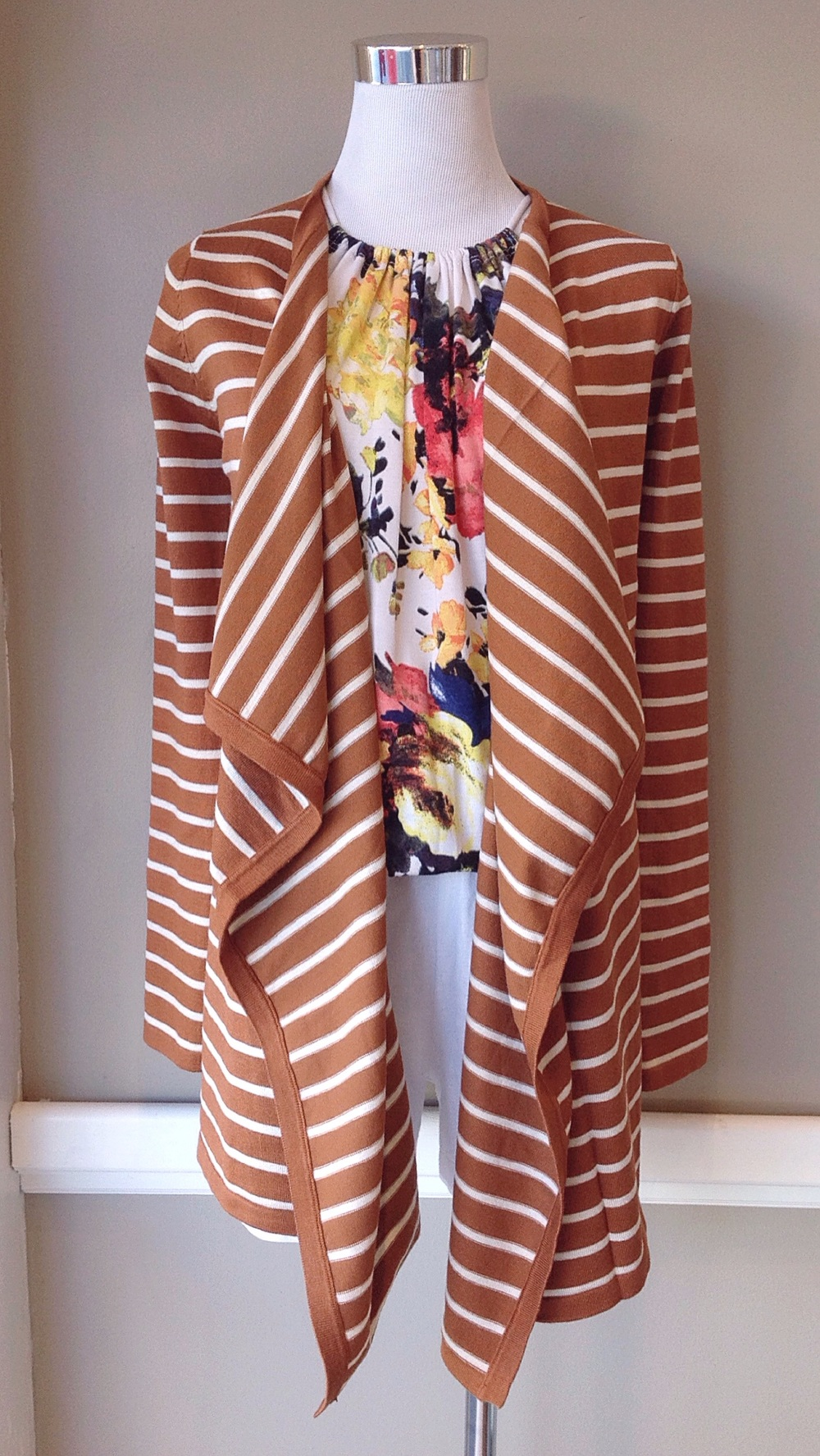 Waterfall drape knit cardigan in honey stripe, $35