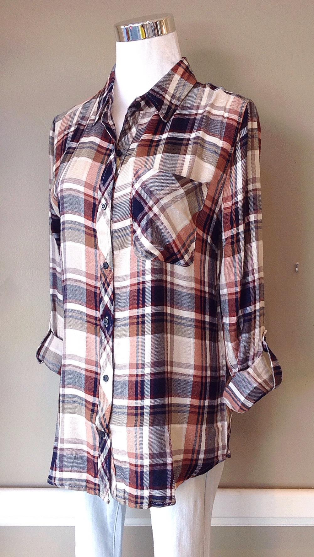 Rayon plaid button-down in ivory/navy/olive, $34