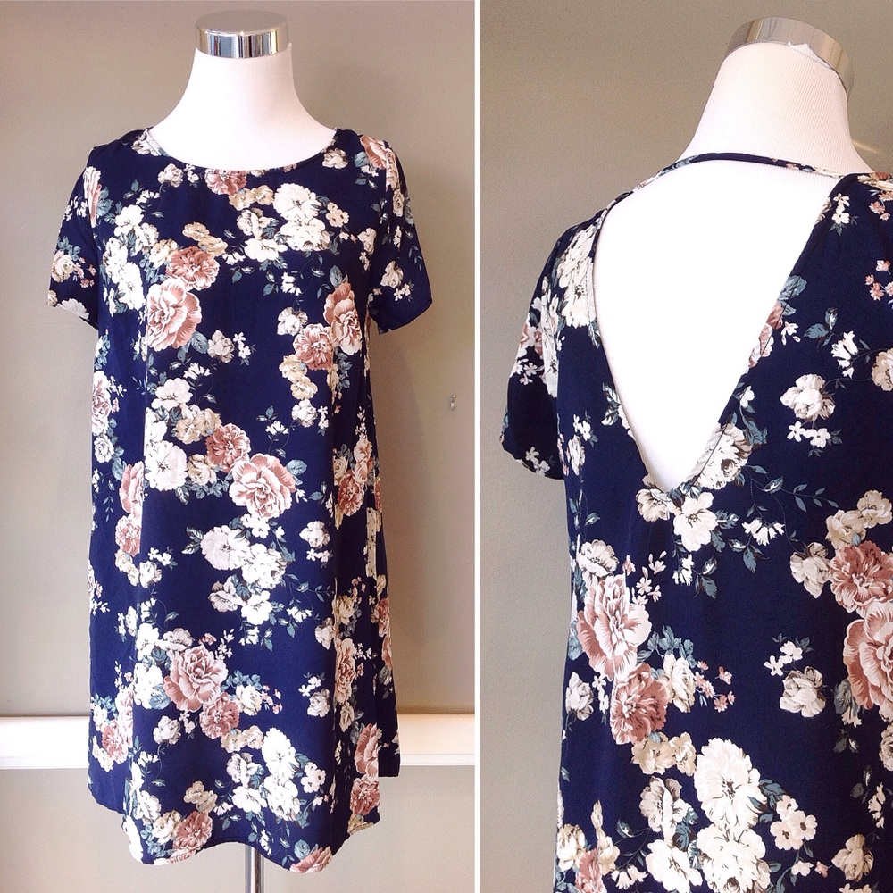 Navy floral print dress with deep V back, $38