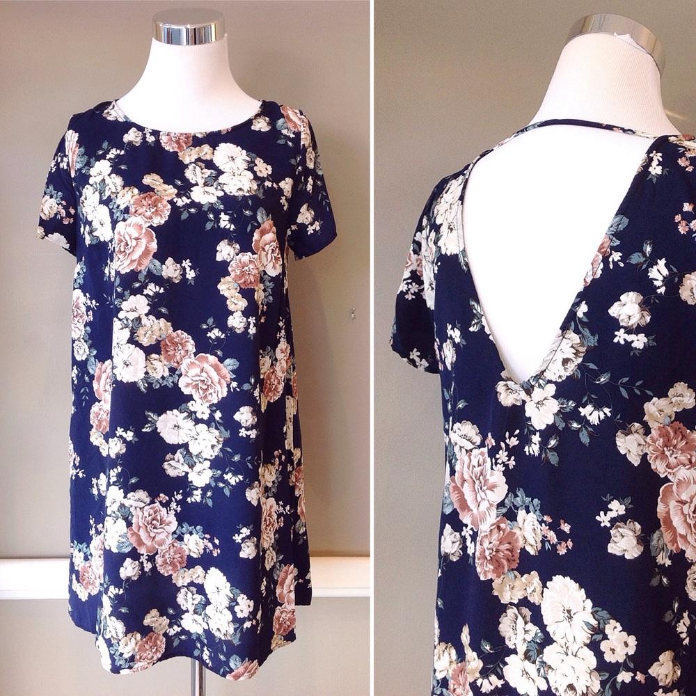 Navy floral print dress with deep V back, $38