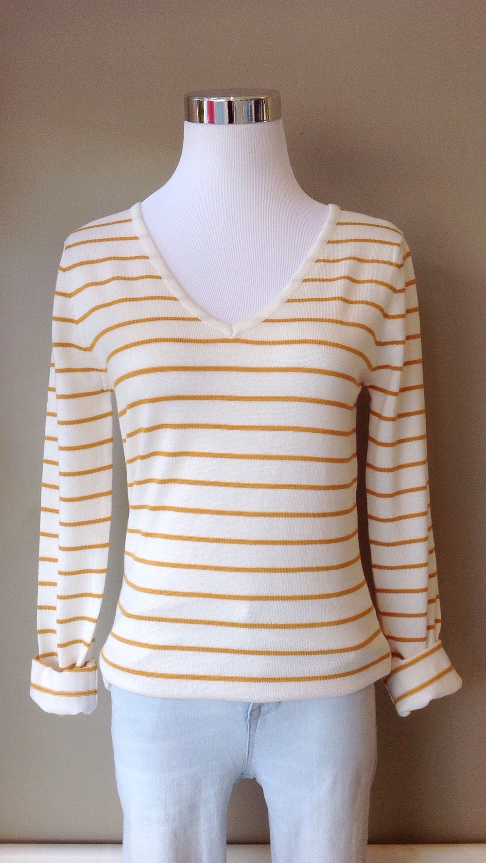 V neck stripe sweater in ivory/gold, $28