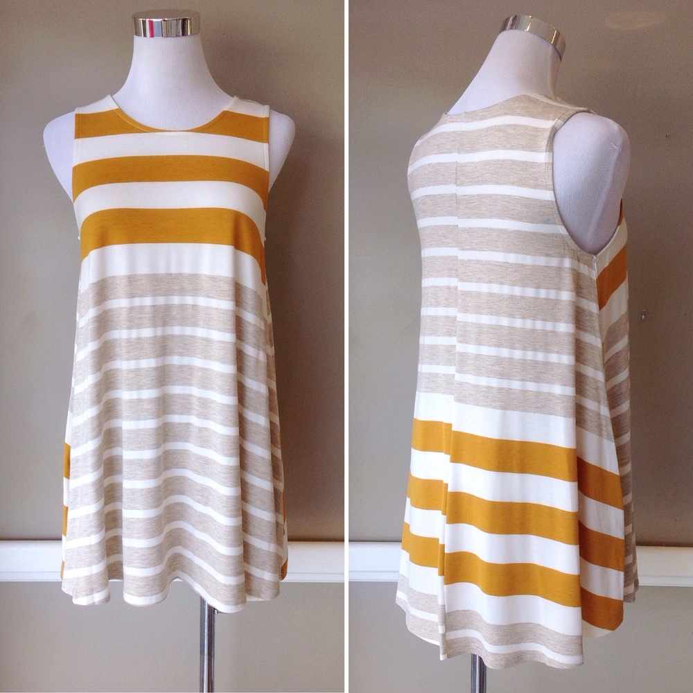 Stripe A-line tank dress with side pockets in mustard/oatmeal/ivory, $32