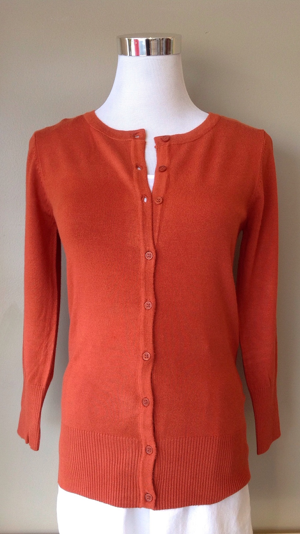 Cotton blend 3/4 sleeve cardigan in orange, $28
